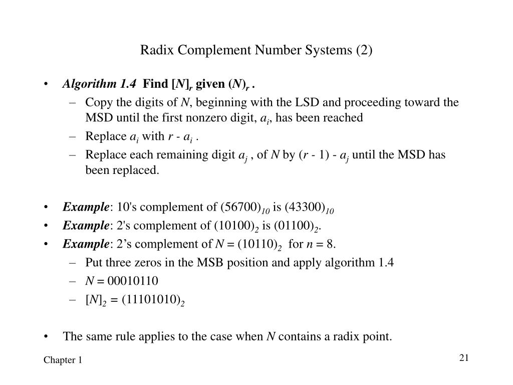 Radix Complement Number Systems (2)