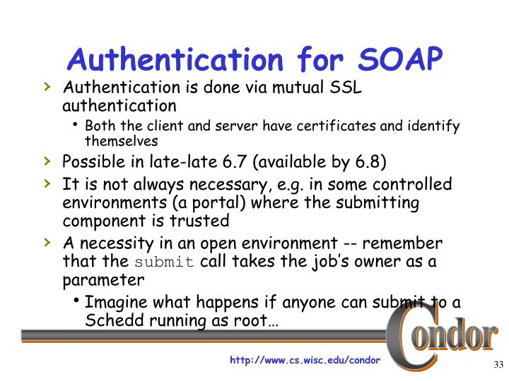 Authentication for SOAP