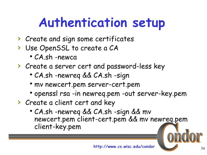 Authentication setup