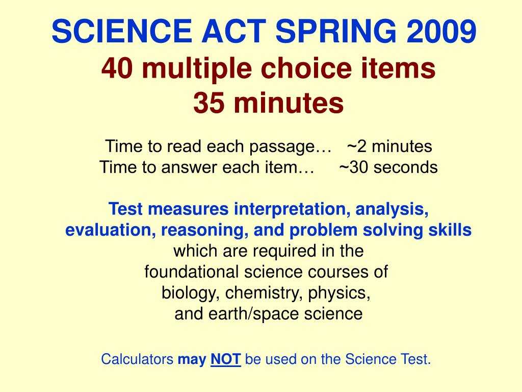 SCIENCE ACT SPRING 2009