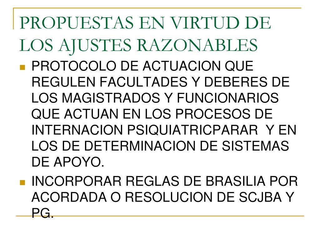 PROPUESTAS EN VIRTUD DE LOS AJUSTES RAZONABLES