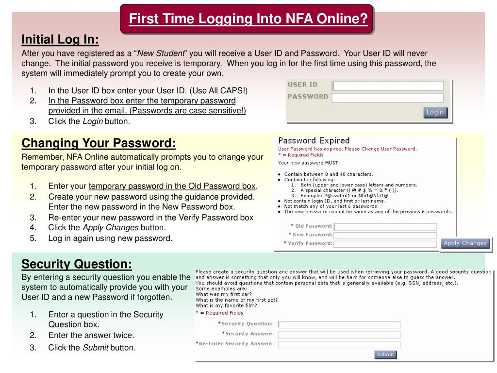 First Time Logging Into NFA Online?