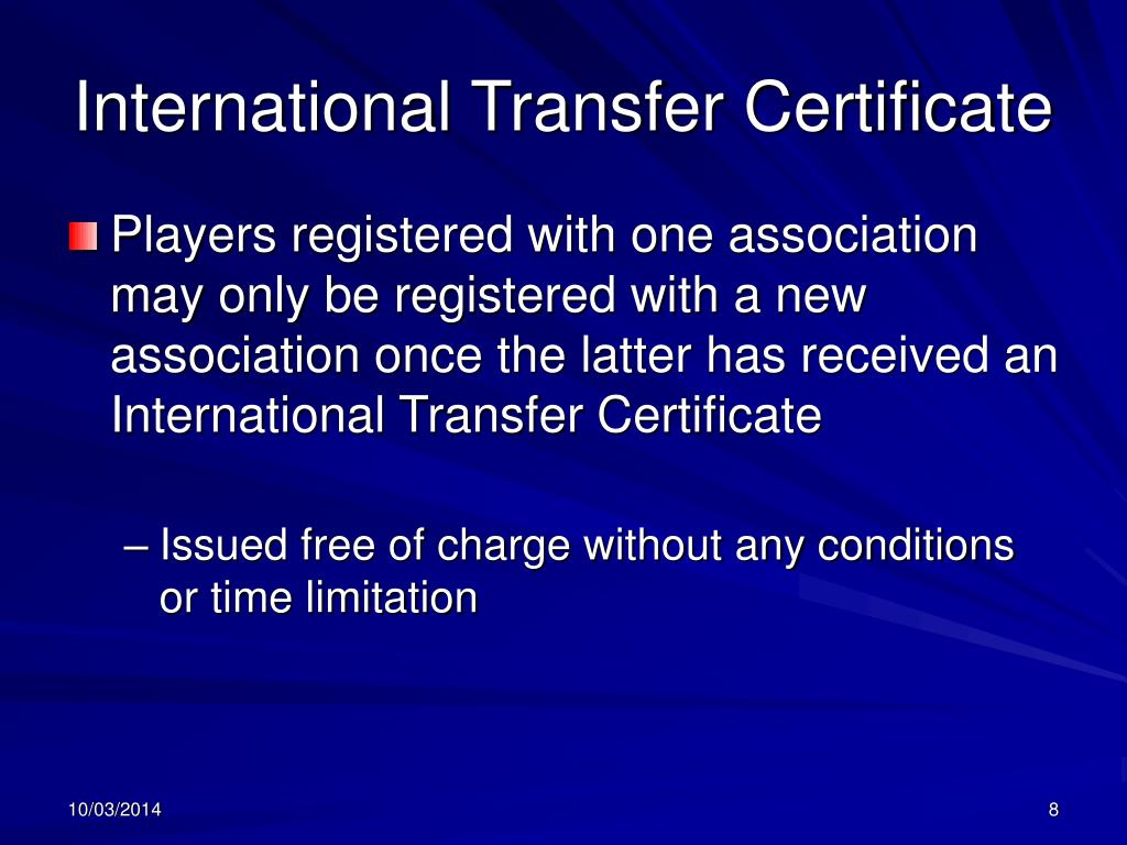 International Transfer Certificate