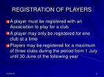 registration of players