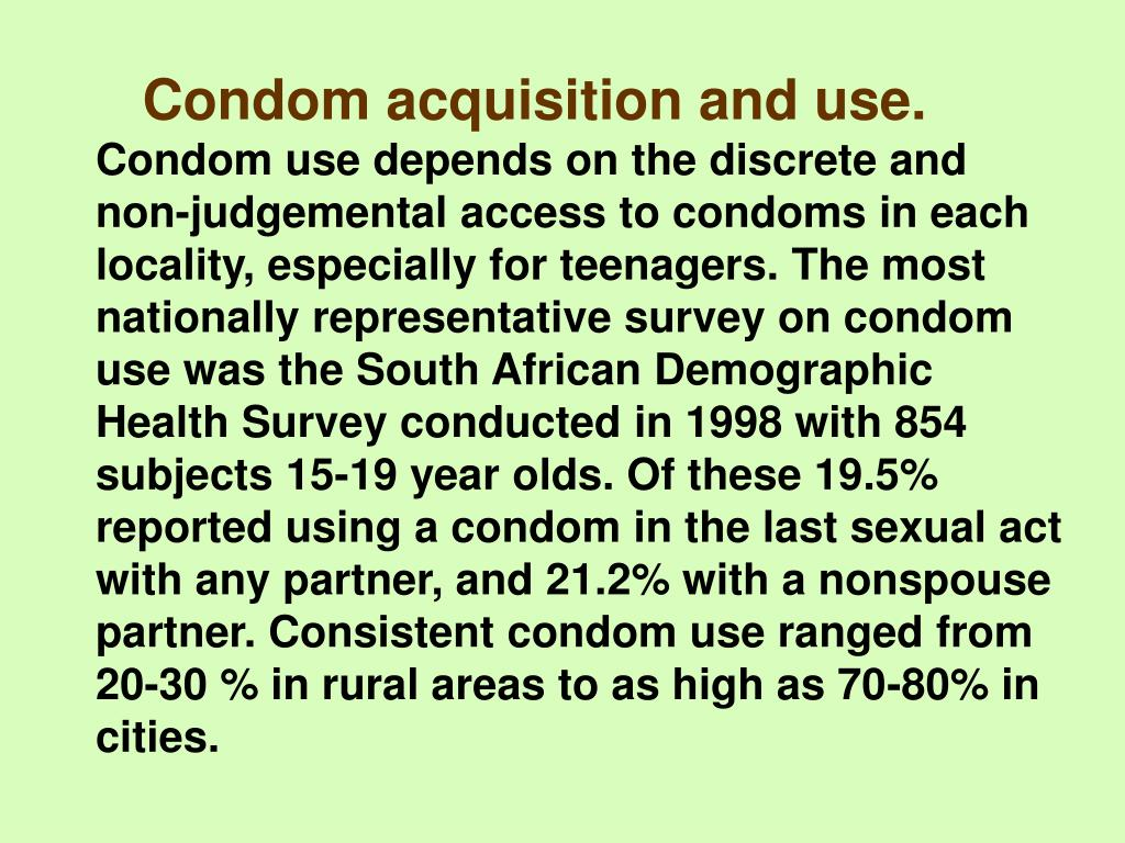 Condom acquisition and use.