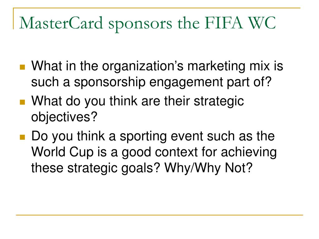 MasterCard sponsors the FIFA WC