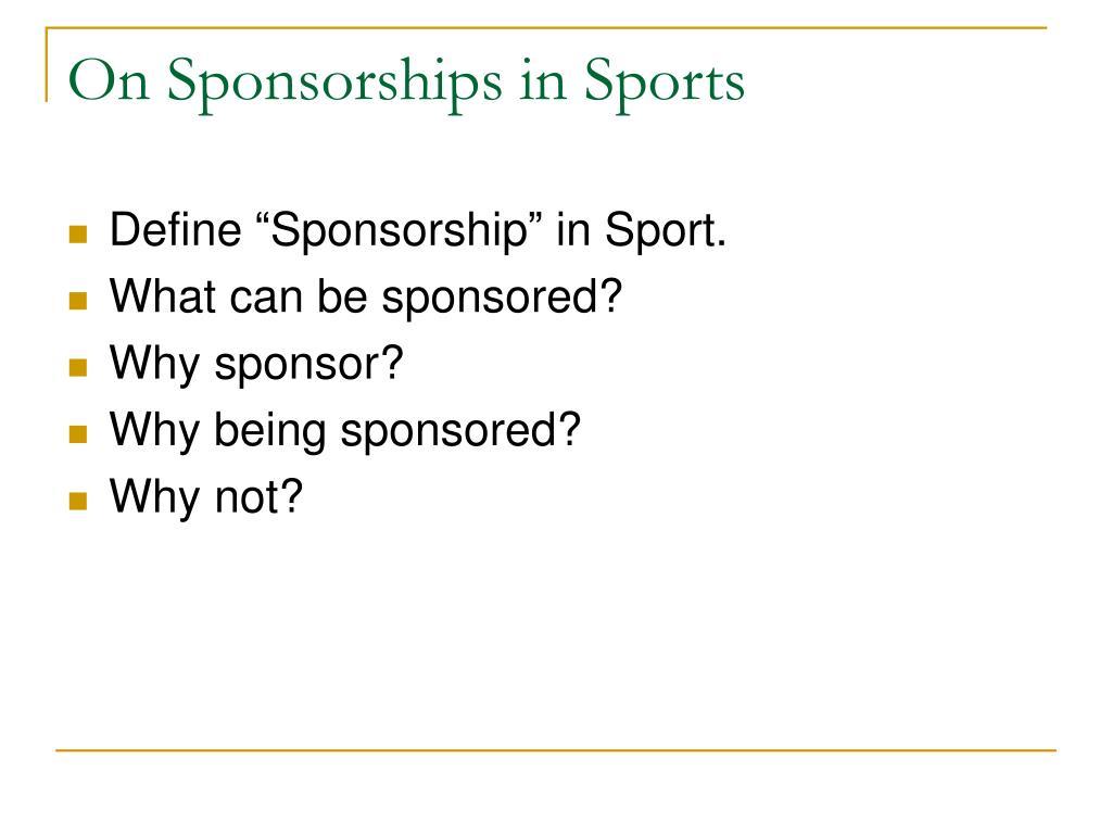 On Sponsorships in Sports