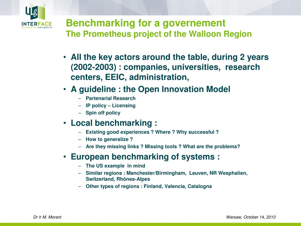 Benchmarking for a governement