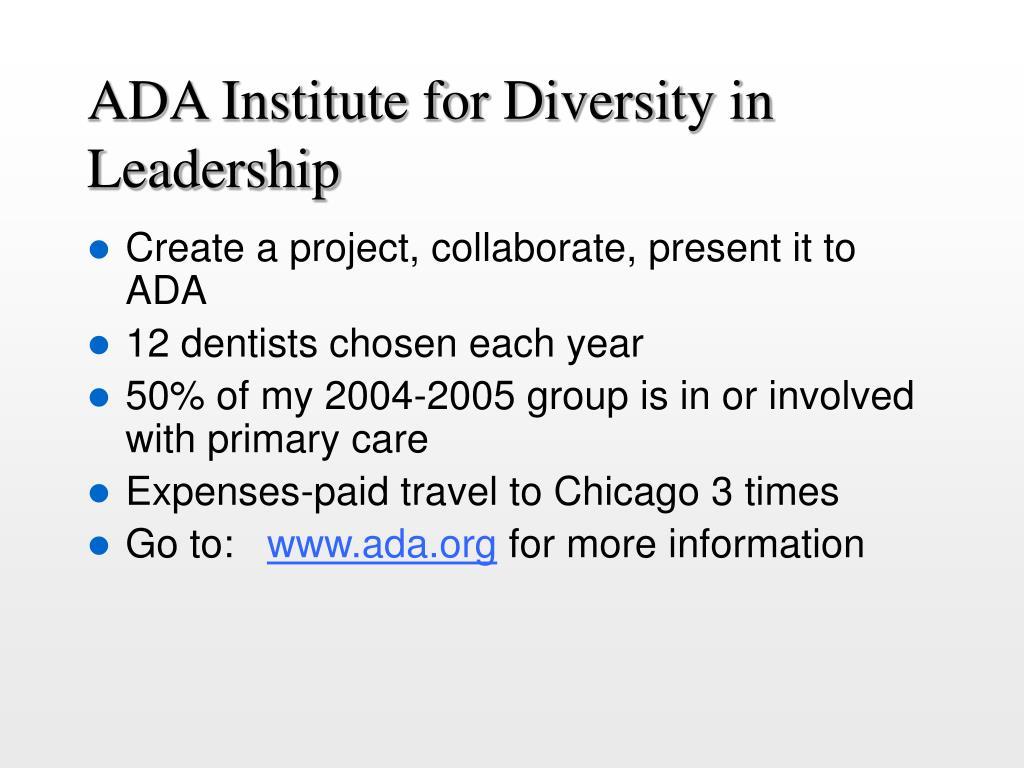 ADA Institute for Diversity in Leadership