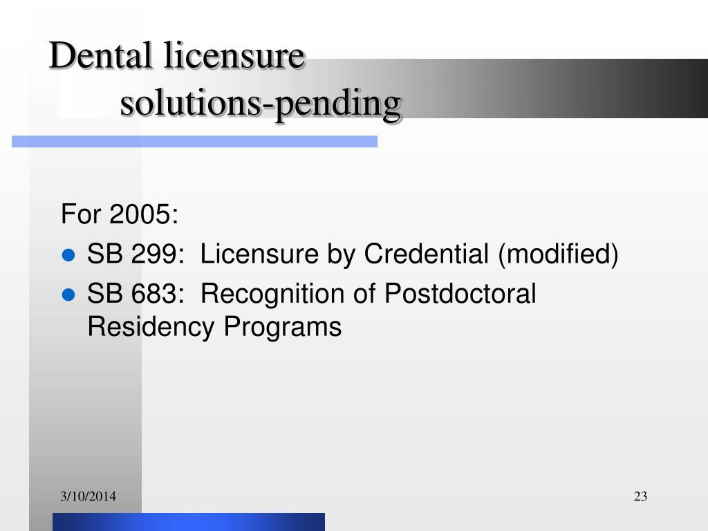 Dental licensure solutions-pending