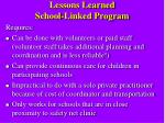 lessons learned school linked program11