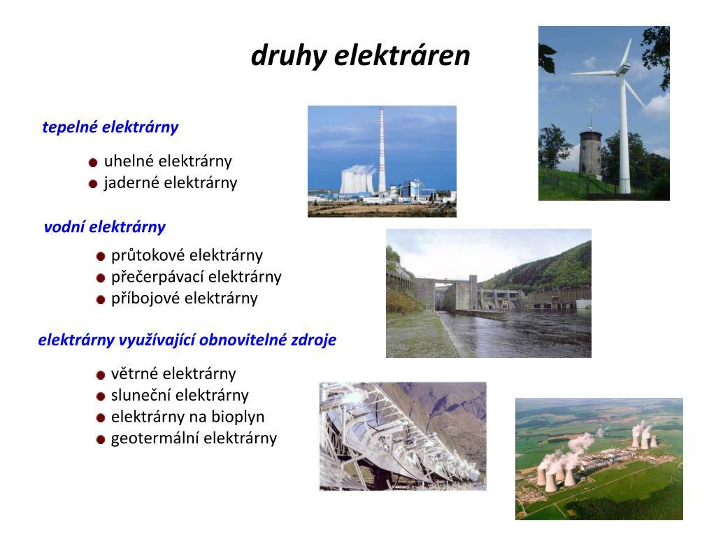 druhy elektráren