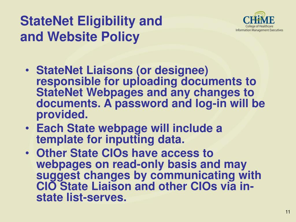 StateNet Eligibility and