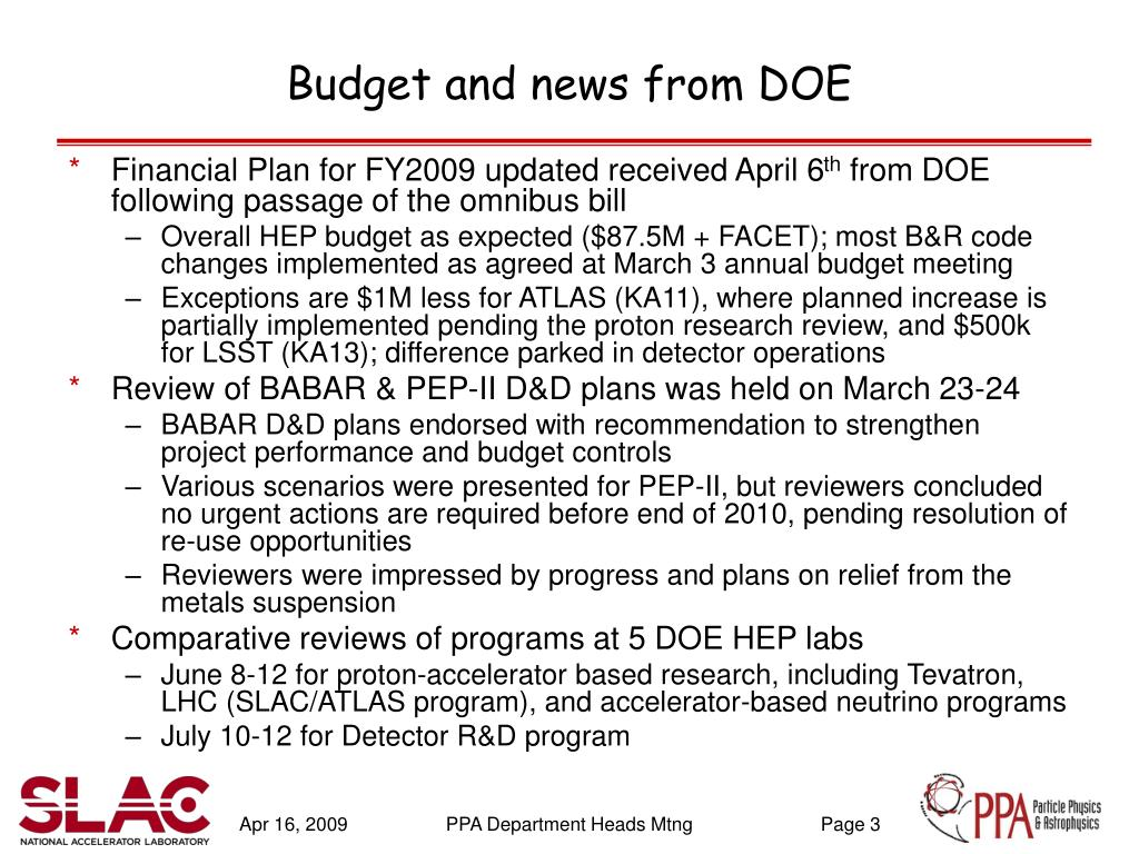 Budget and news from DOE