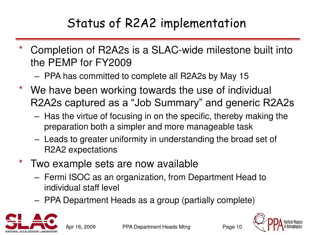 Status of R2A2 implementation