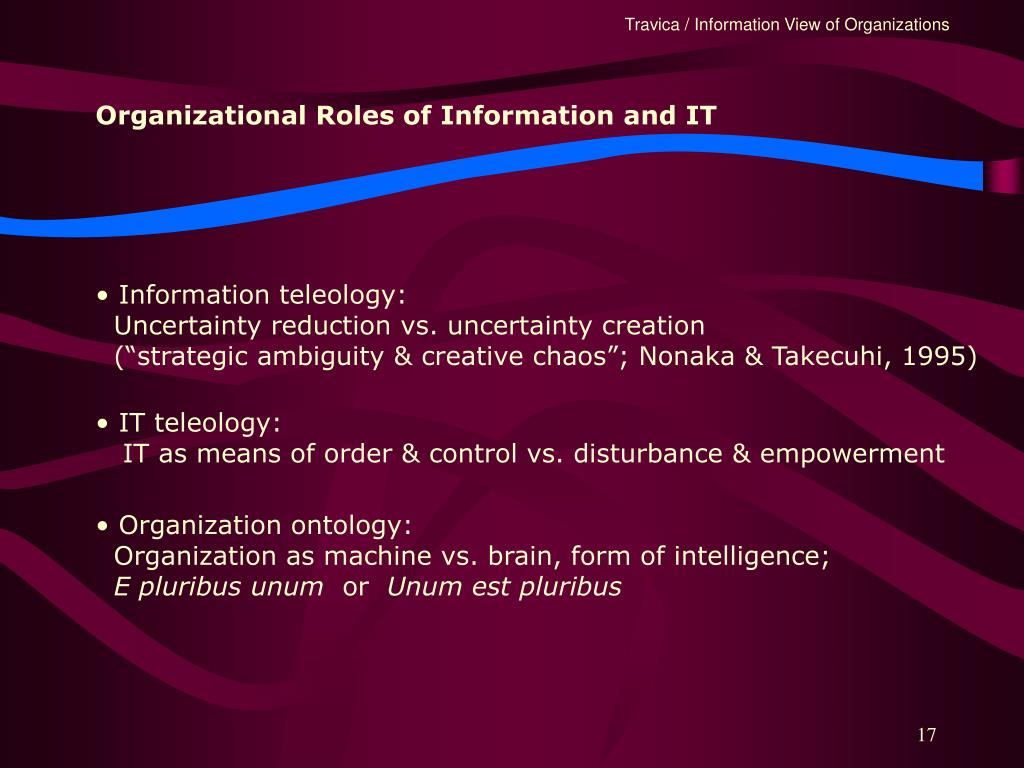 Organizational Roles of Information and IT