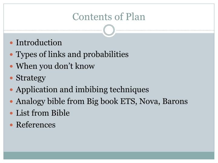 Contents of plan