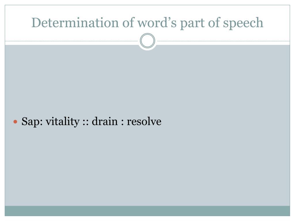 Determination of word's part of speech