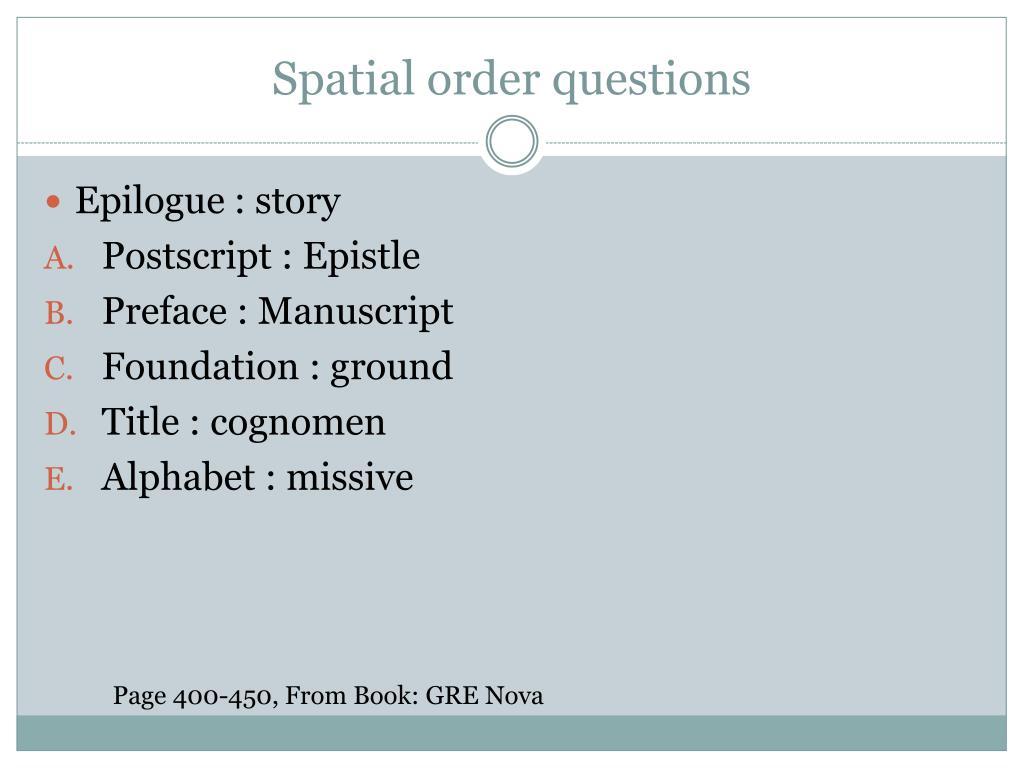 Spatial order questions