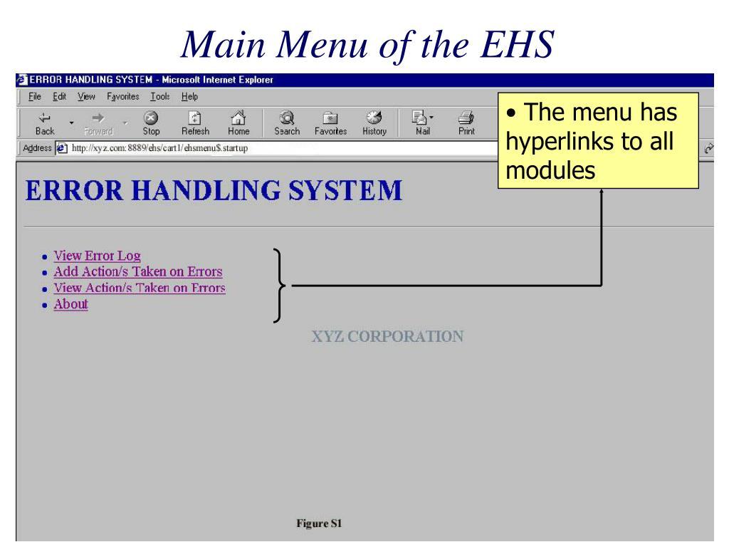 Main Menu of the EHS