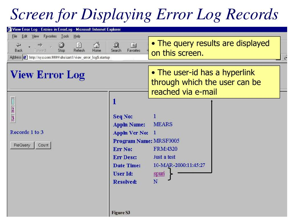 Screen for Displaying Error Log Records