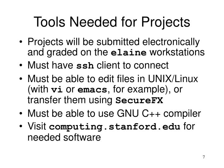 Tools Needed for Projects