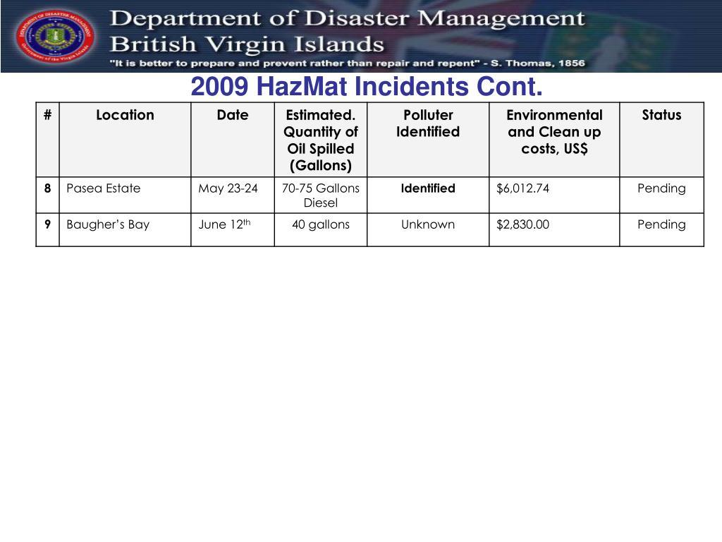 2009 HazMat Incidents Cont.