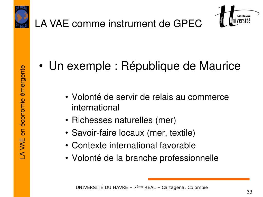 Un exemple : République de Maurice