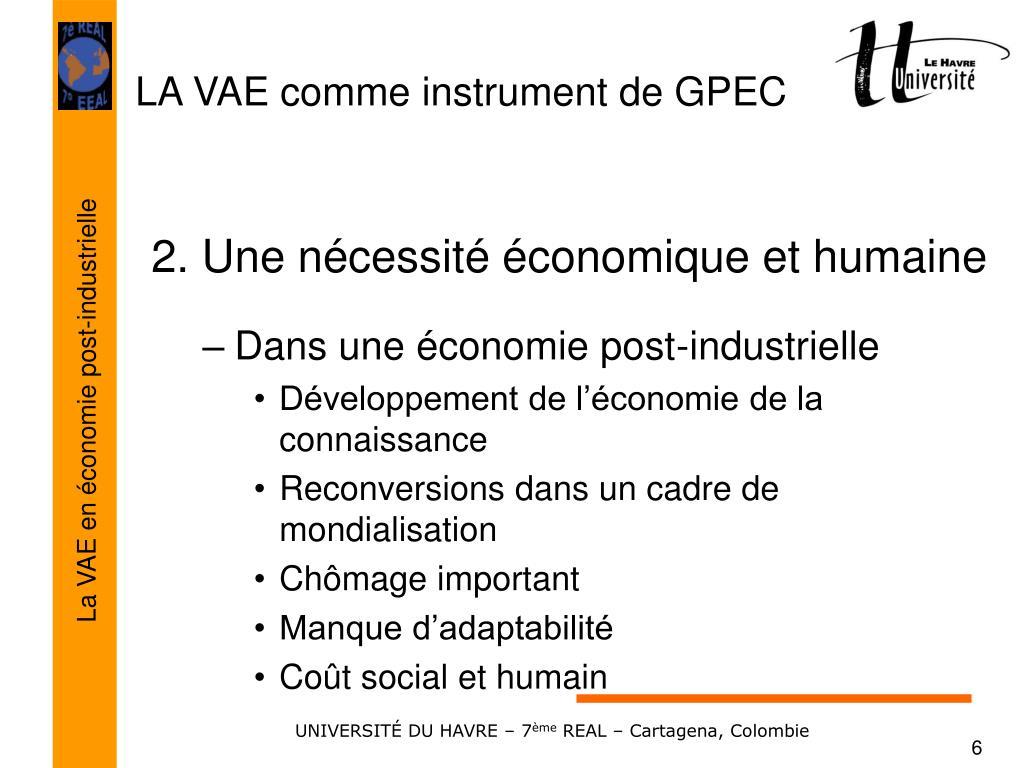 2. Une nécessité économique et humaine
