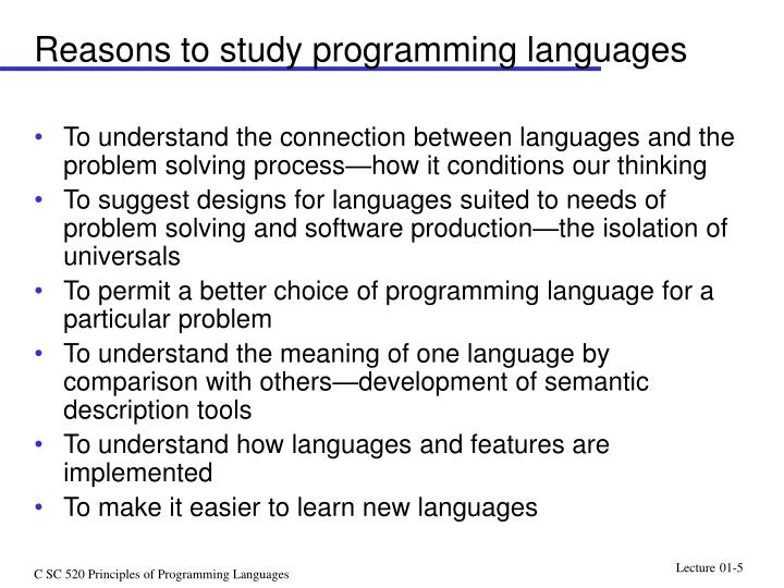 Reasons to study programming languages