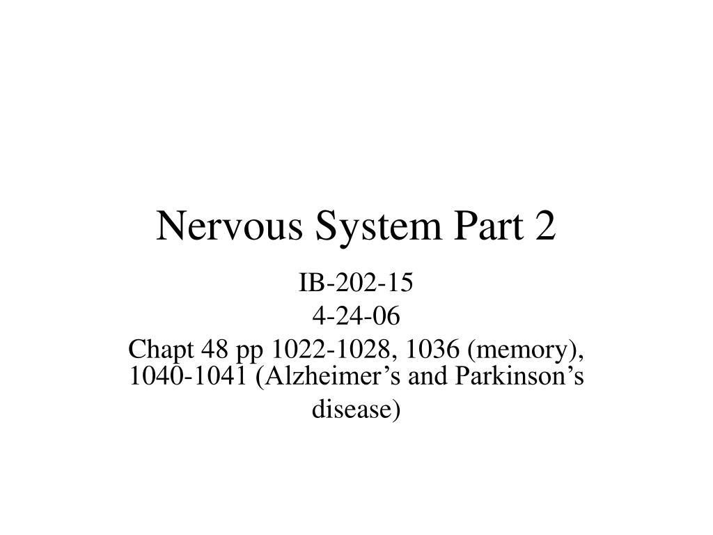 Nervous System Part 2