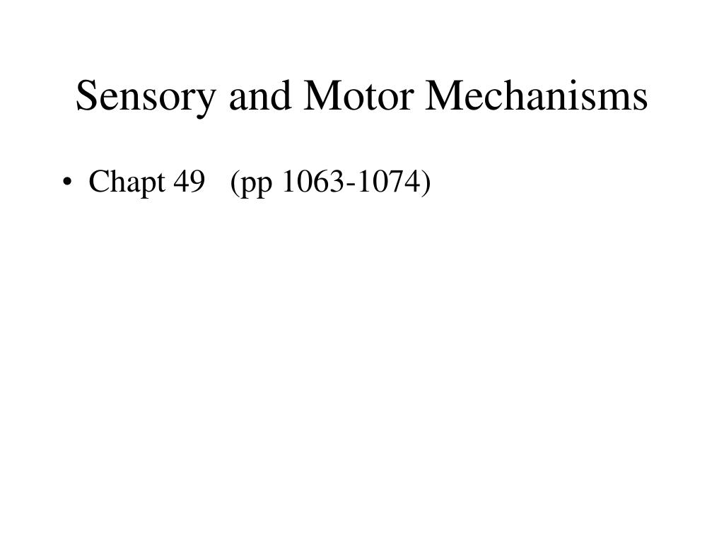 Sensory and Motor Mechanisms