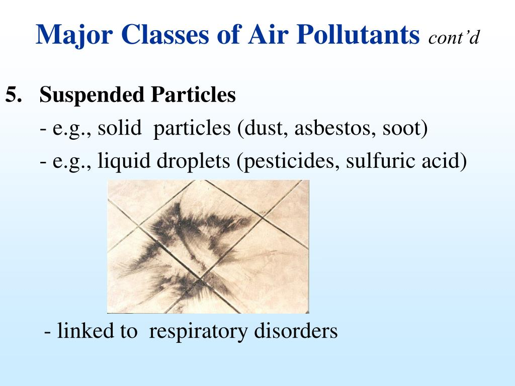 Major Classes of Air Pollutants