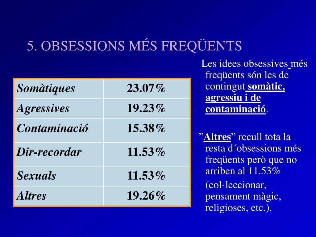 5. OBSESSIONS MÉS FREQÜENTS