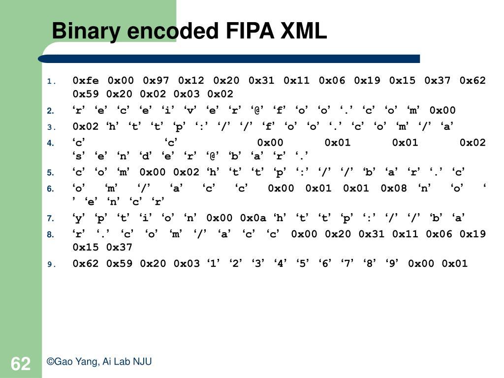 Binary encoded FIPA XML