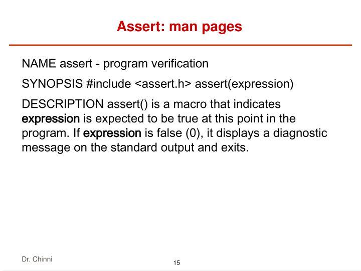 Assert: man pages