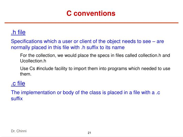 C conventions