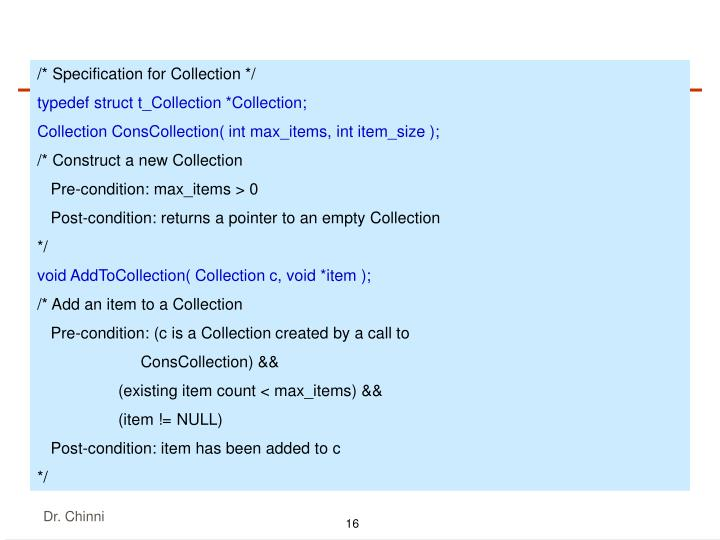 /* Specification for Collection */