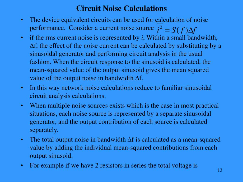 Circuit Noise Calculations
