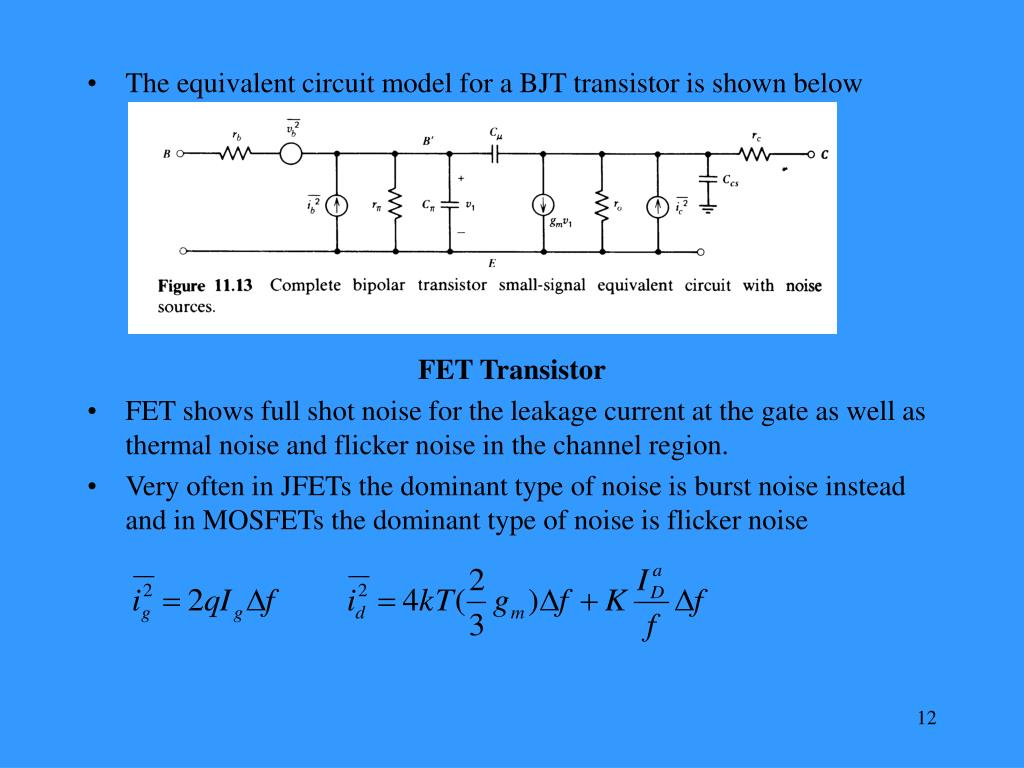 The equivalent circuit model for a BJT transistor is shown below