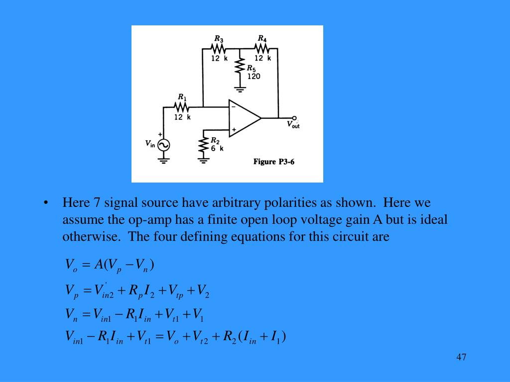 Here 7 signal source have arbitrary polarities as shown.  Here we assume the op-amp has a finite open loop voltage gain A but is ideal otherwise.  The four defining equations for this circuit are