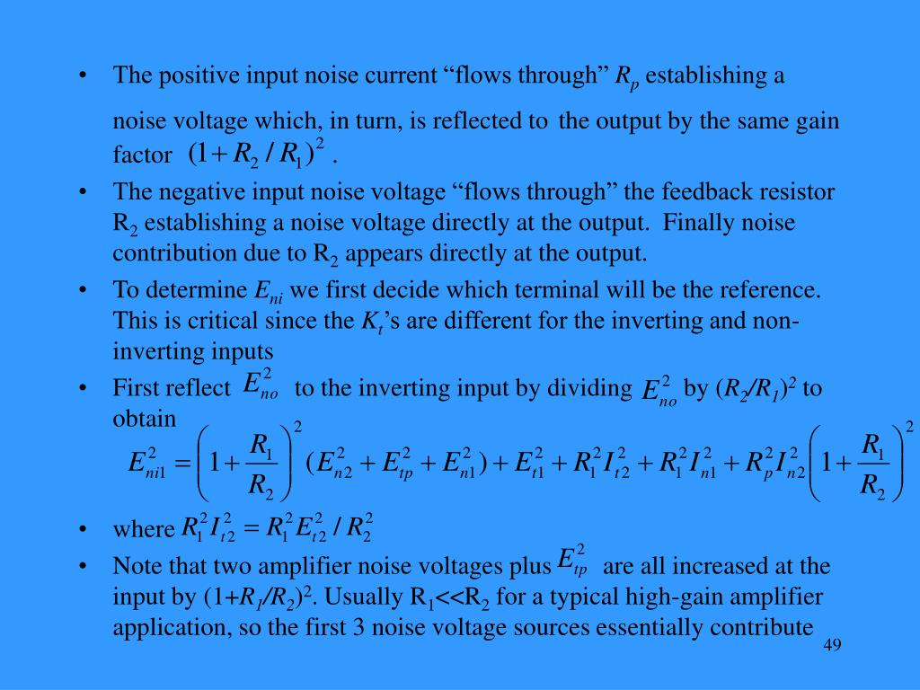 "The positive input noise current ""flows through"""