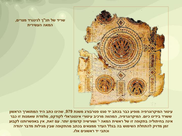 """שריד של תנ""""ך לנינגרד מצרים, המאה העשירית"""