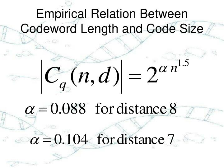 Empirical Relation Between Codeword Length and Code Size