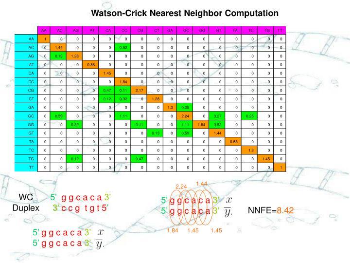 Watson-Crick Nearest Neighbor Computation