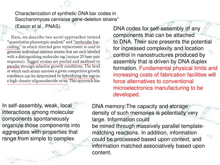 """Characterization of synthetic DNA bar codes in Saccharomyces cervisiae gene-deletion strains"""""""