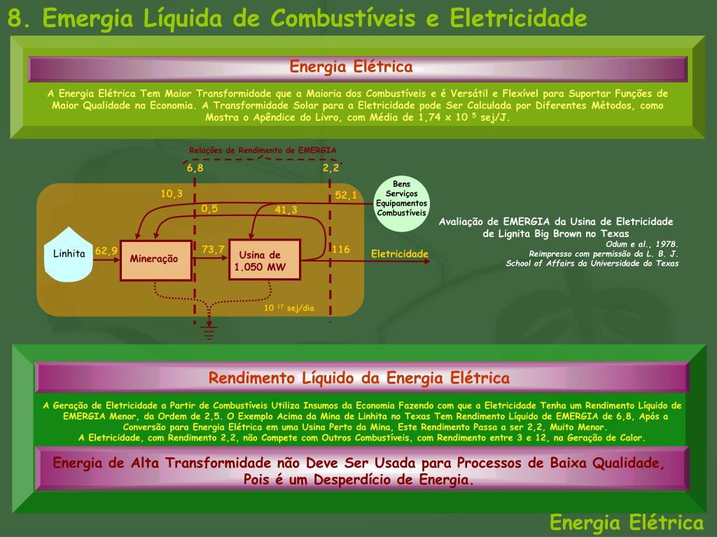 8. Emergia Líquida de Combustíveis e Eletricidade