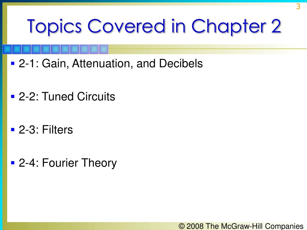 Topics Covered in Chapter 2