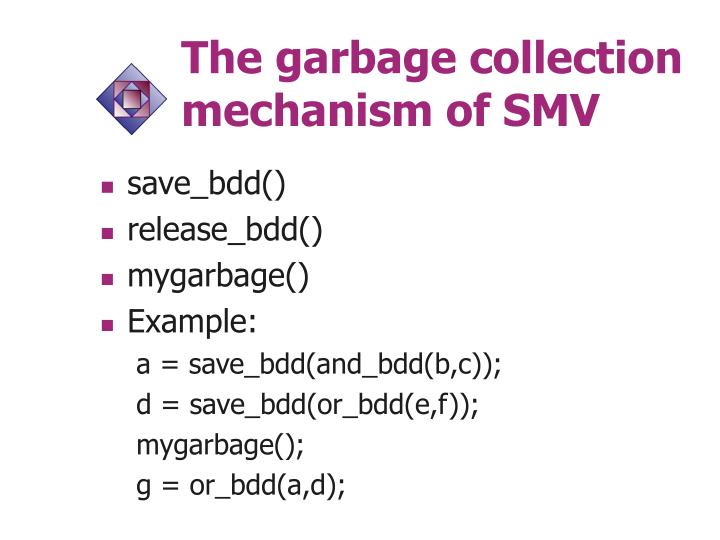 The garbage collection mechanism of SMV