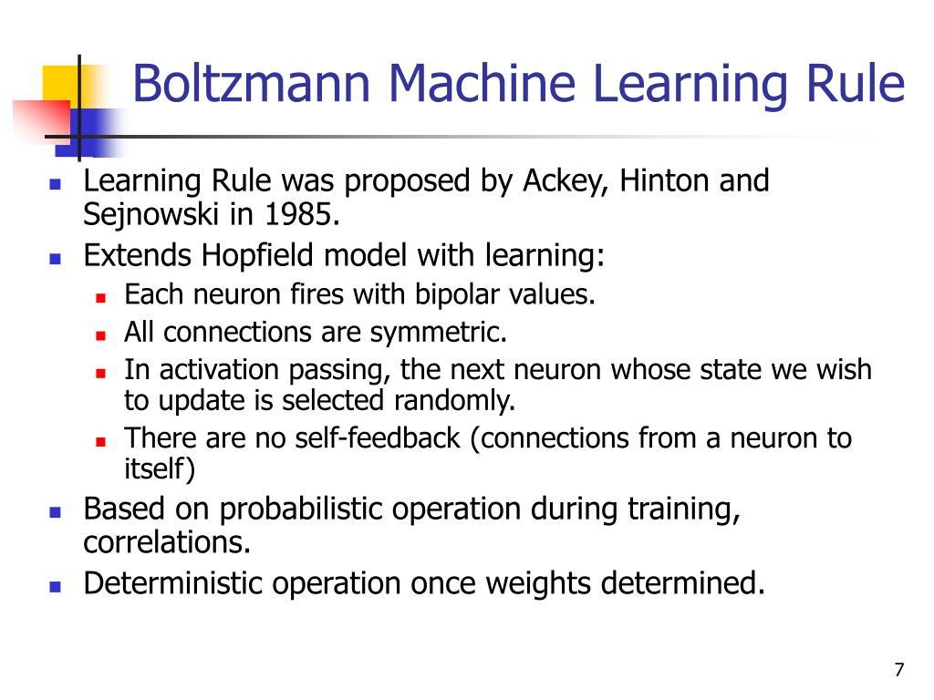 Boltzmann Machine Learning Rule